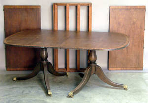 Federal style mahogany double pedestal dining table