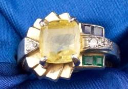 14kt Gold Yellow Sapphire and Gemset Ring