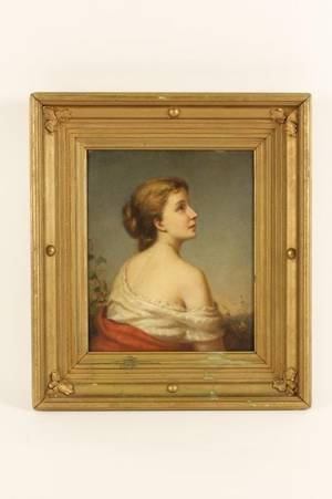 Continental School Portrait of a Young Woman Oil