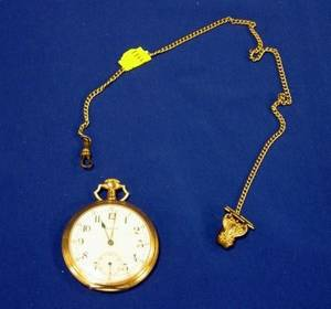 E Howard Watch Co 17Jewel Gold Case Open Face Pocket Watch and Chain