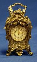 Louis XV Style Miniature Silver Plate Cartel Clock