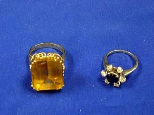 14kt Yellow Gold and Citrine Ring and a 14kt White Gold Sapphire and Diamond Ring