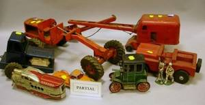 Five Mid20th Century Painted Pressed Metal Toy Tractors and Truck with an Assortment of Other Toys