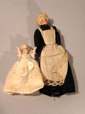 Doll House Maid and All Bisque Tiny Child