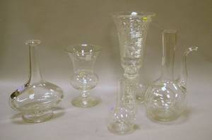Two Colorless Blown Glass Vases Two Decanterform Blown Glass Vases and a Colorless Cut Glass Vase