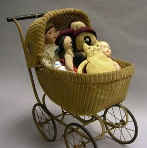 Doll Carriage and Group of Assorted Dolls