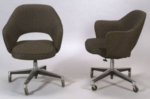 Pair of Modern Upholstered Swivel Armchairs