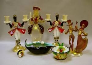 Six Murano Colored Glass Figural Items