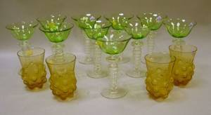 Set of Ten Steuben Green and Colorless Glass Cocktail Glasses and a Set of Four R Lalique Amber Molded Glass Tumblers