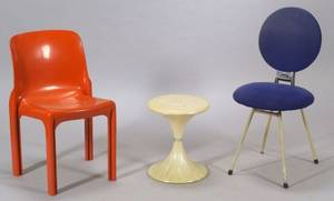 Vico Magistretti Artemide Selene and Vicheny Chairs and a Faux Marble Table