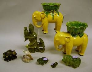 Pair of Chinese Glazed Pottery Elephant Figural Items Four Carved Jade Animal Figures a Carved Jade Figure of a Woman with Deer