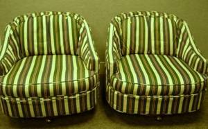 Pair of Modern Upholstered Barrelback Swivel Lounge Chairs
