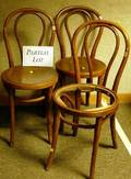 Set of Four Bentwood Bistro Side Chairs and a Late Victorian Upholstered Oak Bench