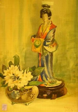 Framed Watercolor Still Life with an Asianstyle Figurine