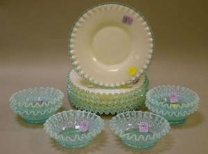 Set of Six Victorianstyle TwoColor Glass Rufflededge Plates and a Set of Six Similar Opalescent Blue Hobnail Fruit Bowls