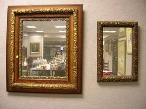 Late Victorian Gilt Gesso Mirror and Late Victorian Oak and Gilt Gesso Mirror