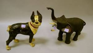Patinated Bronze Elephant Figure with Ivory Tusks and a Painted Cast Iron Boston Terrier Doorstop