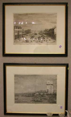 Lot of Two Framed Prints After Canaletto