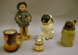 Group of Four Ceramic Pugrelated Table Articles and One Figural Group