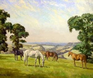 Framed Oil of Horses Grazing Two Framed Oil Landscape Views and a Framed Watercolor Two Mile Oak Inn