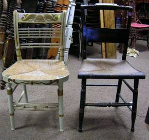 Set of Five Black Painted and Stencil Decorated Side Chairs a Pair of Painted and Stencil Decorated Fancy Side Chairs and a Grained a