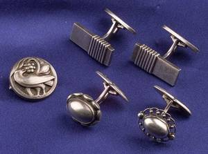 Group of Sterling Silver Cufflinks and Pin Georg Jensen