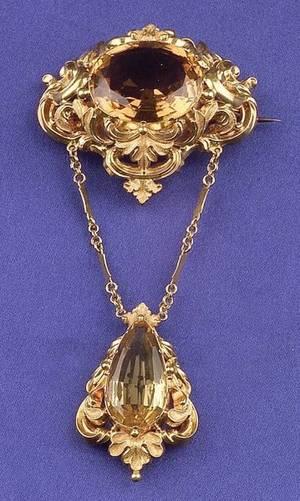 Antique 14kt Gold and Citrine Brooch