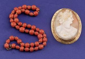 14kt Gold Shell Cameo PendantBrooch and Coral Bead Necklace