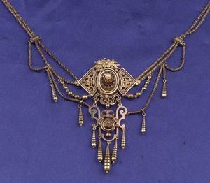 Antique 14kt Gold Seed Pearl and Enamel Festoon Necklace