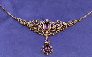 Art Nouveau 14kt Gold Amethyst and Seed Pearl Pendant Necklace Krementz  Co