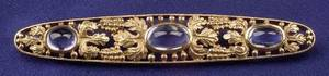 Arts and Crafts 14kt Gold and Sapphire Bar Pin