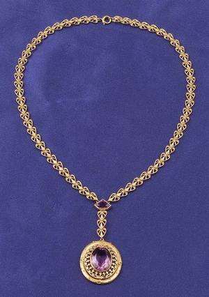 Antique 14kt Gold and Amethyst Pendant Necklace