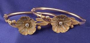 Pair of Antique 14kt Tricolor Gold and Diamond Bangle Bracelets