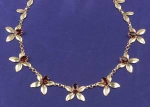 Retro 14kt Gold and Citrine Flower Necklace Wordley Allsopp  Bliss