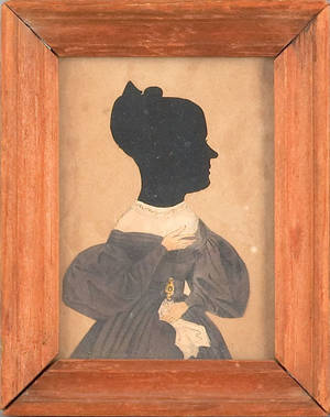 Printed and hollowcut silhouette of a woman 19th c