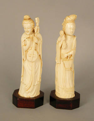 Pair of Chinese carved ivory figures