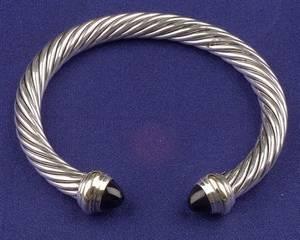 Sterling Silver 14kt Gold and Onyx Bracelet David Yurman
