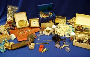 Group of Assorted Victorian and Costume Jewelry Beads Buttons and Miscellany