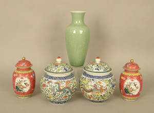 Pair of modern Chinese porcelain ginger jars together with a pair of covered vases and a celadon vase