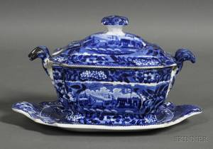 Historic Blue Staffordshire Pottery Covered Sauce Tureen with Undertray