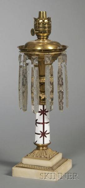 Cut Overlay Glass Brass and Marble Fluid Lamp with Glass Prisms