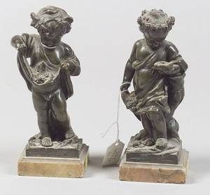 Pair of European Bronze Figures of Cherubic Children