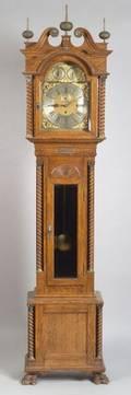 Chippendalestyle Oak Long Case Clock