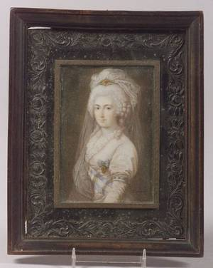 Continental Portrait Miniature on Ivory of an Elegant Royal Lady