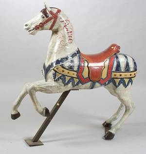 German Polychrome Painted Wood and Composition Carousel Horse
