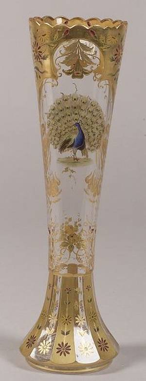 Victorian Enamel Decorated Colorless Glass Vase