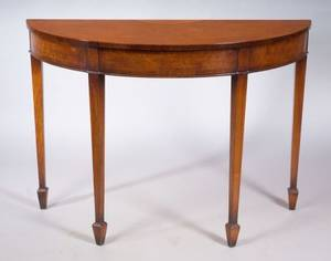 Georgiansdtyle Inlaid Walnut and Burl Walnut Demilune Side Table