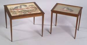 Two Victorian Birdseye Maple Framed Needleworktopped Occasional Tables
