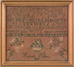 Silk on linen sampler dated 1824