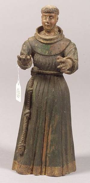 Painted Santos Figure of St Francis of Assisi